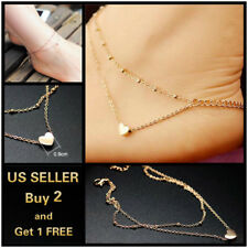 Ankle Bracelet Foot Chain Double Layer Gold Heart Anklet