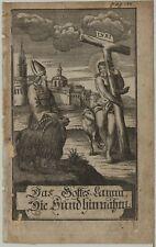 Lamm Gottes Sünde Schaf Original Kupferstich um 1730 Jesus Christus KREUZ Kunst