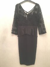 Señoras tamaño XL Ruiyige Negro Encaje Vestido de Peplum Inteligente/Towie/Navidad/Fiesta Rrp £ 45