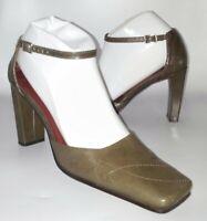 Nine West VTG 7.5 Heroic Pumps Square Toe Block Heel Career Shoes Brown Leather