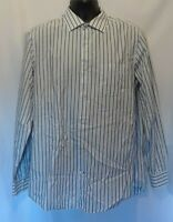 Banana Republic Mens Shirt Sz L 16-16.5 Fitted White Gray Stripe Long Sleeve