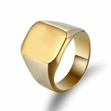 1 Pcs Men Solid Polished Stainless Steel Band Biker Signet Ring Gold