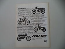 advertising Pubblicità 1976 MOTO ITALJET BUCCANEER 125/PIRANA C/X 50 R/MAD 125