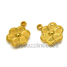 Lot of 10 Gold Plated Brass 12mm Double Sided Flower Charms with Close Loop Ring