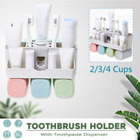 2 3 4 Cups Handfree Toothbrush Holder Shelf Wall Mount Auto Toothpaste