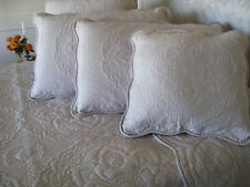 Square taupe stitch embroidered cushion cover with ties