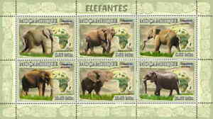 Mozambique - Elephants on Stamps - 6 Stamp Sheet 13A-041