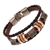 Leather Multilayer Bracelet Handmade Men/Women Wristband Metal Buckle New