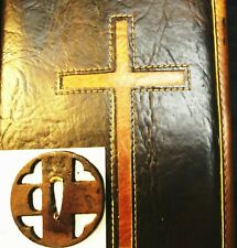 "JAPAN 16TH CENTURY ""SAMURAI SWORD TSUBA"" CHRISTIAN /  BIBLE  & SILK CASE/ PEARLS"