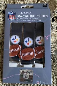 NWT NFL Pittsburgh Steelers 3pc Premium Pacifier Clip Set Infant Baby Unisex