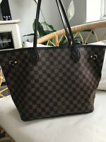 Authentic Louis Vuitton Neverfull MM Damier Ebene Shopper -  with clutch