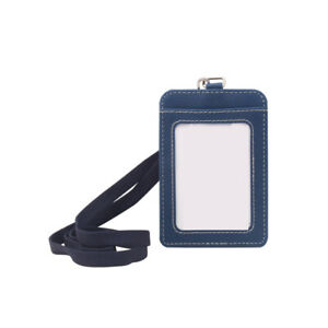 ID Badge Card Holder PU Leather Vertical Clip Neck Strap Lanyard Necklace