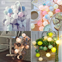 3m 20 LED Colorful Fairy String Lights Cotton Ball Xmas Wedding Party Decor Lamp