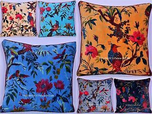 Handmade Velvet Cushion Cover Bird Floral Printed Sofa Cover Ethnic Indian Home