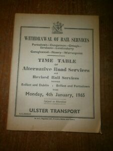 Northern Ireland Railways Withdrawl of Rail Services Bus Timetable Book 1965