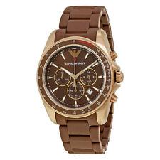 Armani Sigma Chronograph Dark Brown Silicone Band Mens Watch AR6099