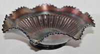 VTG Northwood Carnival Glass-Stippled Rays 9.5' Ruffled Bowl Amethyest Purple