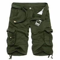 2018 Mens Summer Casual Cotton Pants Army Combat Camo Work Cargo Shorts Trousers
