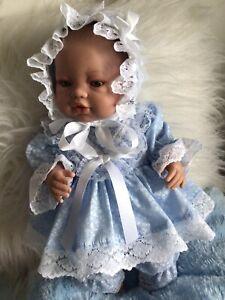 "CLOTHES NEW BORN BABY /16""  DOLL .Blue Fluer. THREE PIECE DRESS SET    NEW"