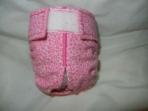 Female Dog Puppy Diaper Washable Pant Sanitary Underwear PINK FLOWERS SM/MED