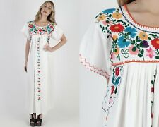 Vtg 70s White Mexican Dress Bright Floral Embroidered Caftan Beach Coverup Maxi