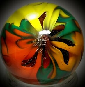"""Rick Davis~FLAME ON ~Glass Marble 2012~SIGNED~42MM/1 & 1/2"""""""