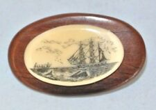 "Vintage Whaling Scene Scrimshaw 1.5"" Oval Brooch Pin ~ Excellent Condition"