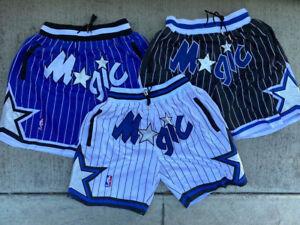 Men's Orlando Magic Just Don Stitched '92-'93 Black/Blue/White Basketball Shorts