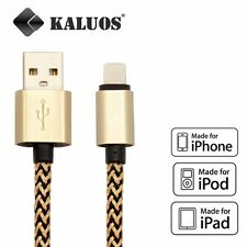 Long 2M Kaluos Fabric USB Cable for iPhone 6S 6 5S 7 Data Charger Original Cord