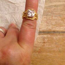 Avon Cushion Cut Pave Ring Set Size 7 Women's Goldtone NIB