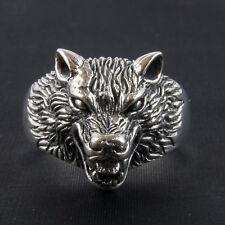 Hombre Lobo Anillo .925 plata esterlina sólida de metal biker gótico punk Crepúsculo Lobos