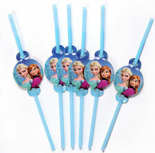 12pcs Frozen Elsa Anna Straw Kids Girls Birthday Party Favor Supply Water Straws