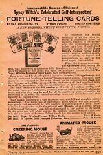 1927 small Print Ad of Gypsy Witch's Fortune Telling Cards & Creeping Mouse Toy
