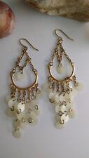 tribal goldtone chandelier artisan earrings