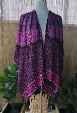 Plus Size Floral Paisley Bright Loose Fitting Rayon Long Kimono/Jacket One Size