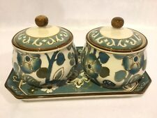 Set of 2 Covered Serving/Jelly Bowls With Matching Tray  Porcelain China