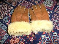 vintage 80`s Lammfell Winter Leder Handschuhe 80er Jahre oldschool hippie XS