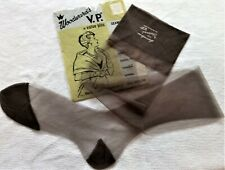 Woodward'S V.P. Tall Off Black Sheer Seamless Mesh Rht Nylon Stockings 10.5/35