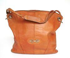 Vintage CUIR marron tan fourre-tout / sac épaule-Années 70-Large