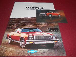 1977 CHEVROLET CHEVELLE MALIBU 12 p. BROCHURE / CATALOG + ORIGINAL 77 POSTCARD