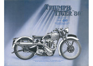 1939 Triumph Tiger 80 350cc motorcycle poster