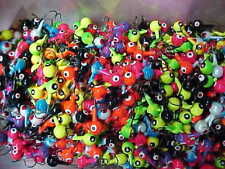 100 NEW  LEAD HEAD JIG HEADS 3/8 OZ. 1/0 HOOKS WALLEYE JIGS MIXED COLORS   #434