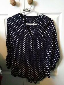 Womens Size 14 Polka Dot Navy Blouse Top Primark