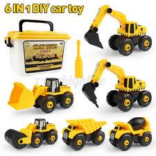 6Pcs Kids Construction Toys Set Excavator Dump Truck Road Car Vehicle Model