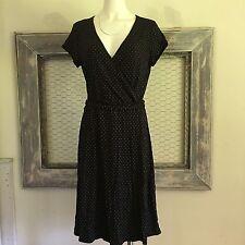 New York & Company Dress Large Polka Dot Black Crossover Midi NYC