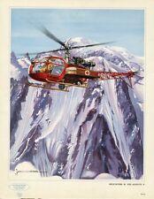 """""""HELICOPTERE SE. 3130 ALOUETTE II"""" Buvard original années 50 Jean MASSE 21x27cm"""