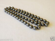 "8mm EMATITE COLLANA 22 "" annodati a mano naturale 8 MM PERLINE GRIGIO ORIGINALE"