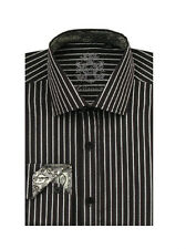 New Men's Unique Casual Fashionable Stripe Dress Shirt Black/White Size 15~20