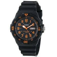 Casio MRW200H-4B 100M Black Diver Classic Sports Watch Resin Band ORANGE