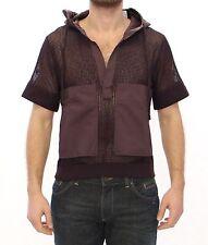 Nuevo con Etiqueta Dolce & Gabbana Marrón Rejilla Algodón Logo Capucha Camiseta
